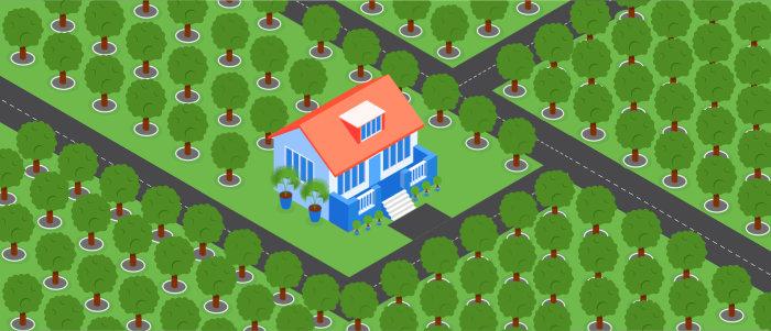 Частный дом в окружении деревьев