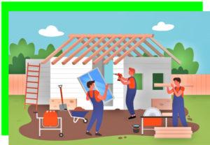 Бригада строит частный дом